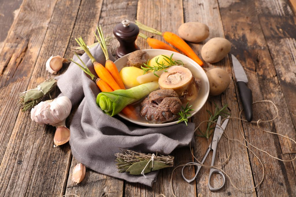 pot au feu,beef stew with broth and vegetable