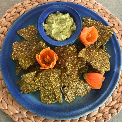 seedy crackers and probiotic dip make a healthy easy snack